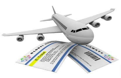 plane and plane ticket