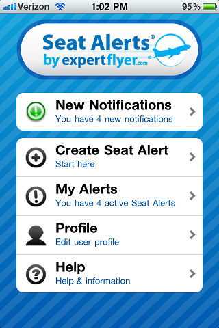 Seat Alerts App - Home Screen