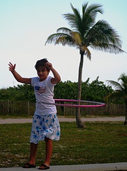 Child hoola hoop in Miami Beach