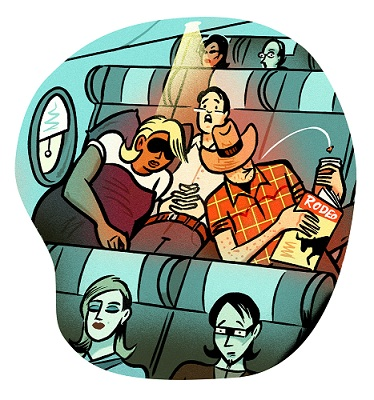 Graphic is man stuck in the middle seat
